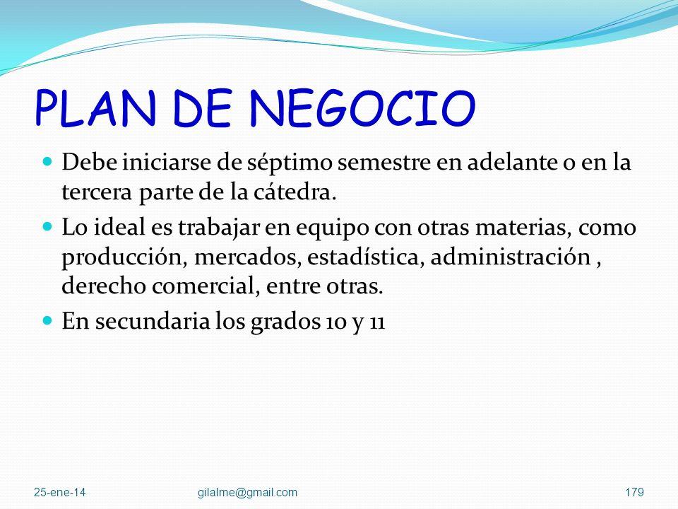 PLAN DE NEGOCIO Debe iniciarse de séptimo semestre en adelante o en la tercera parte de la cátedra.