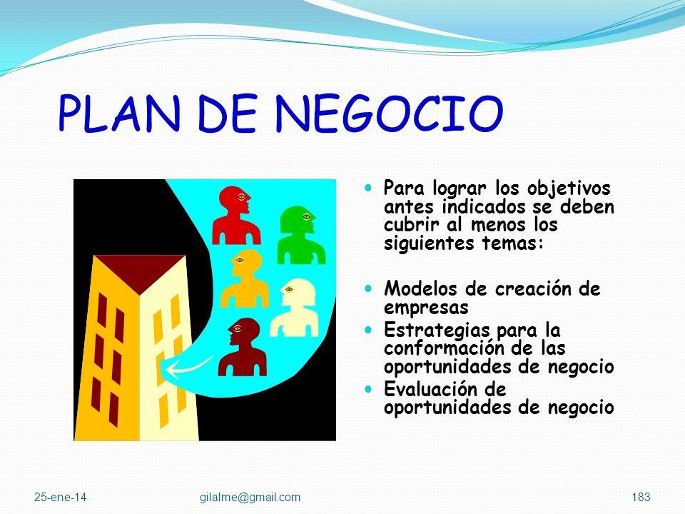 PLAN DE NEGOCIO Para lograr los objetivos antes indicados se deben cubrir al menos los siguientes temas: