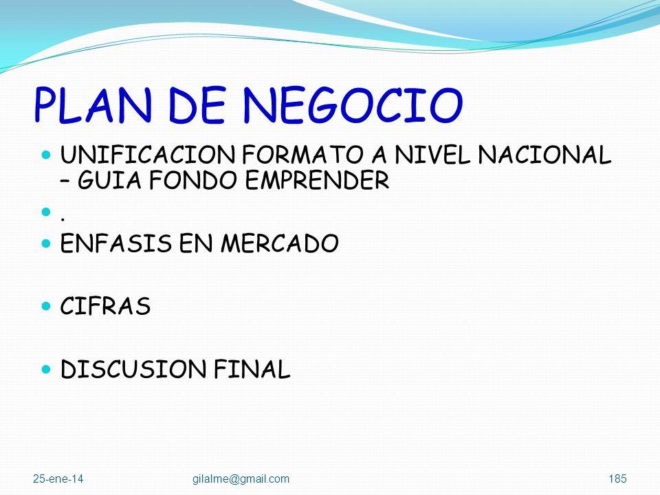 PLAN DE NEGOCIO UNIFICACION FORMATO A NIVEL NACIONAL – GUIA FONDO EMPRENDER. . ENFASIS EN MERCADO.