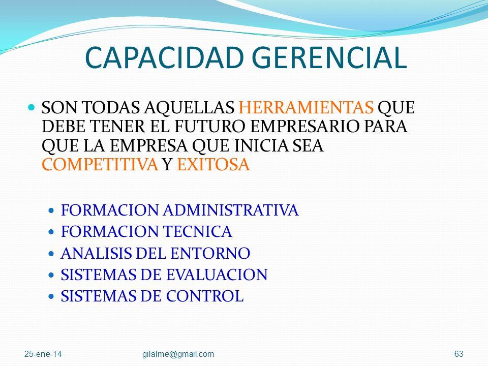 CAPACIDAD GERENCIAL SON TODAS AQUELLAS HERRAMIENTAS QUE DEBE TENER EL FUTURO EMPRESARIO PARA QUE LA EMPRESA QUE INICIA SEA COMPETITIVA Y EXITOSA.