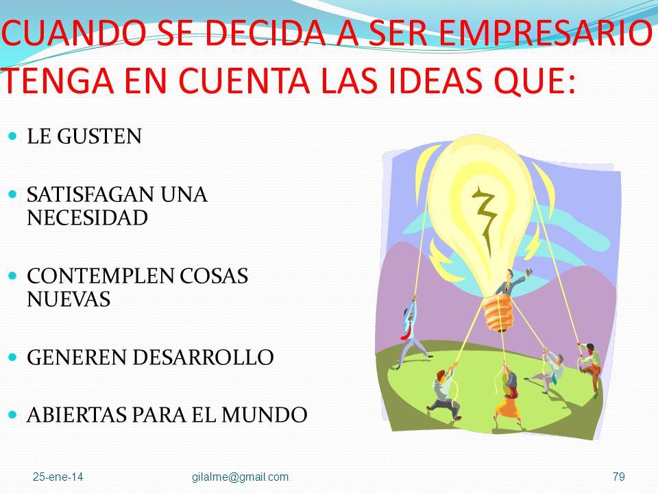 CUANDO SE DECIDA A SER EMPRESARIO TENGA EN CUENTA LAS IDEAS QUE: