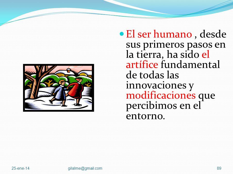 El ser humano , desde sus primeros pasos en la tierra, ha sido el artífice fundamental de todas las innovaciones y modificaciones que percibimos en el entorno.