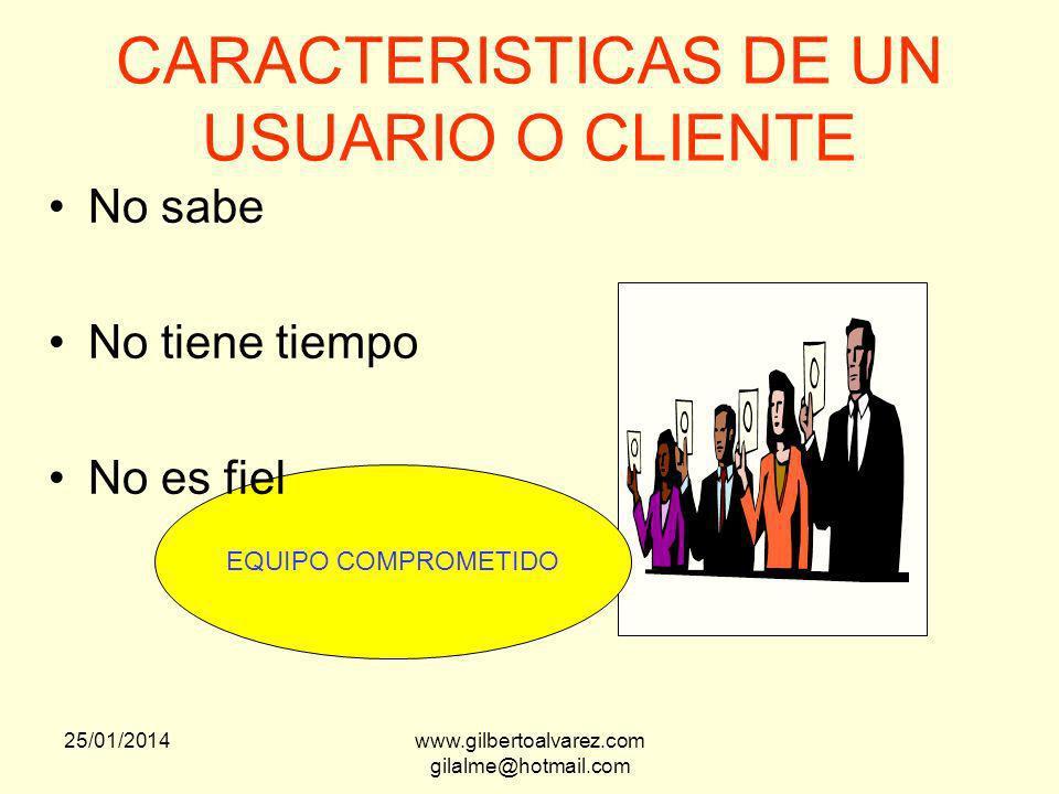 CARACTERISTICAS DE UN USUARIO O CLIENTE