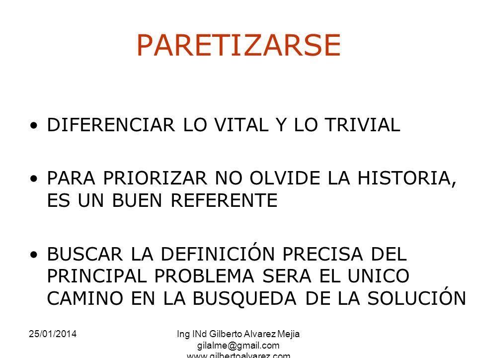 PARETIZARSE DIFERENCIAR LO VITAL Y LO TRIVIAL