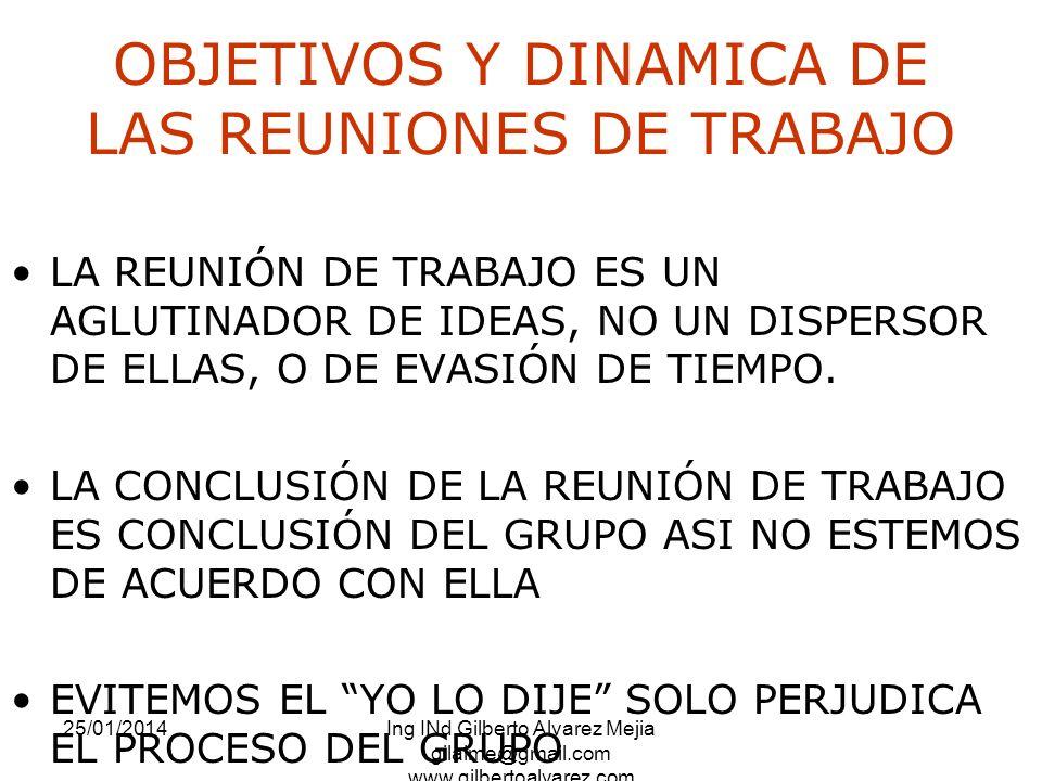 OBJETIVOS Y DINAMICA DE LAS REUNIONES DE TRABAJO