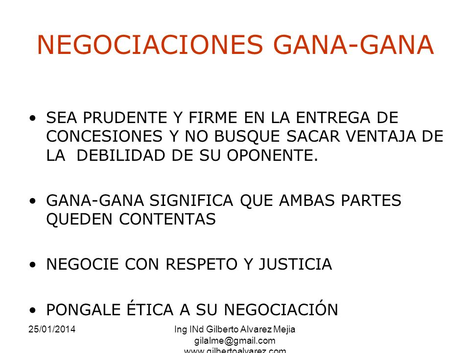 NEGOCIACIONES GANA-GANA