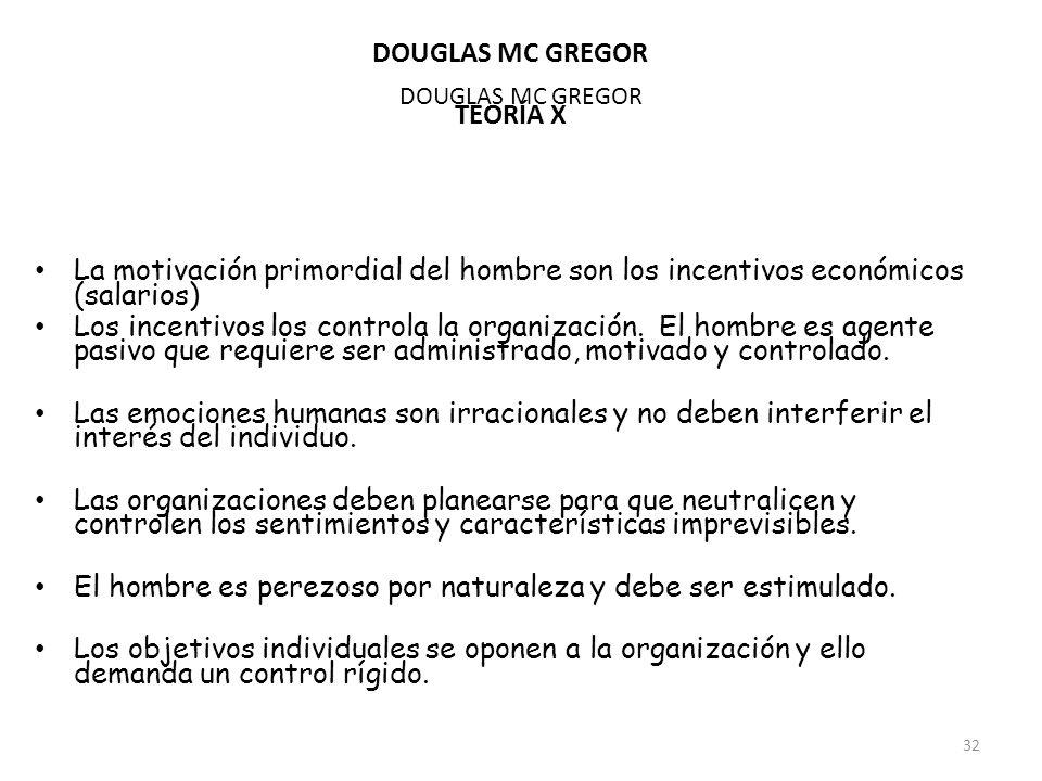 DOUGLAS MC GREGOR TEORÍA X