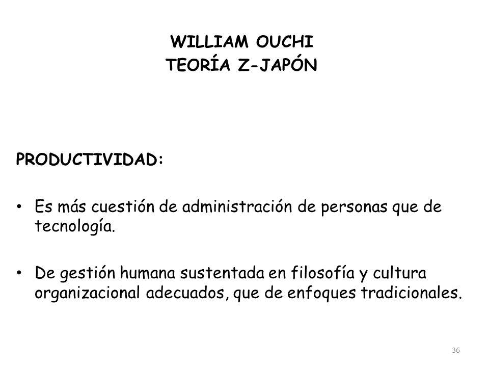 WILLIAM OUCHI TEORÍA Z-JAPÓN. FACTOR: Cultura. PRODUCTIVIDAD: Es más cuestión de administración de personas que de tecnología.