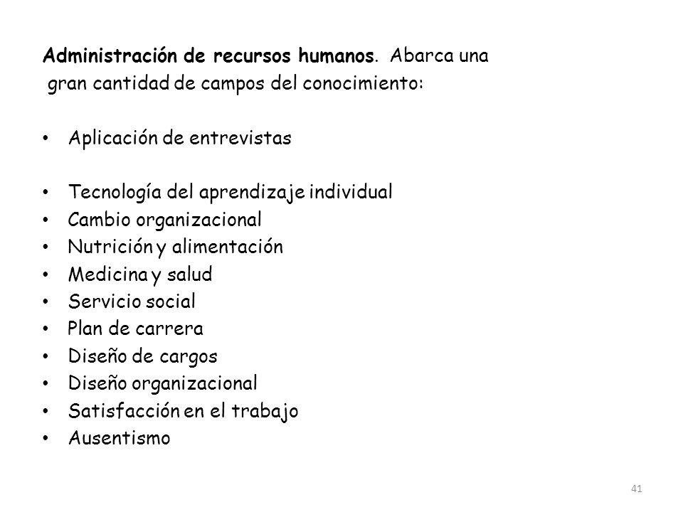 Administración de recursos humanos. Abarca una