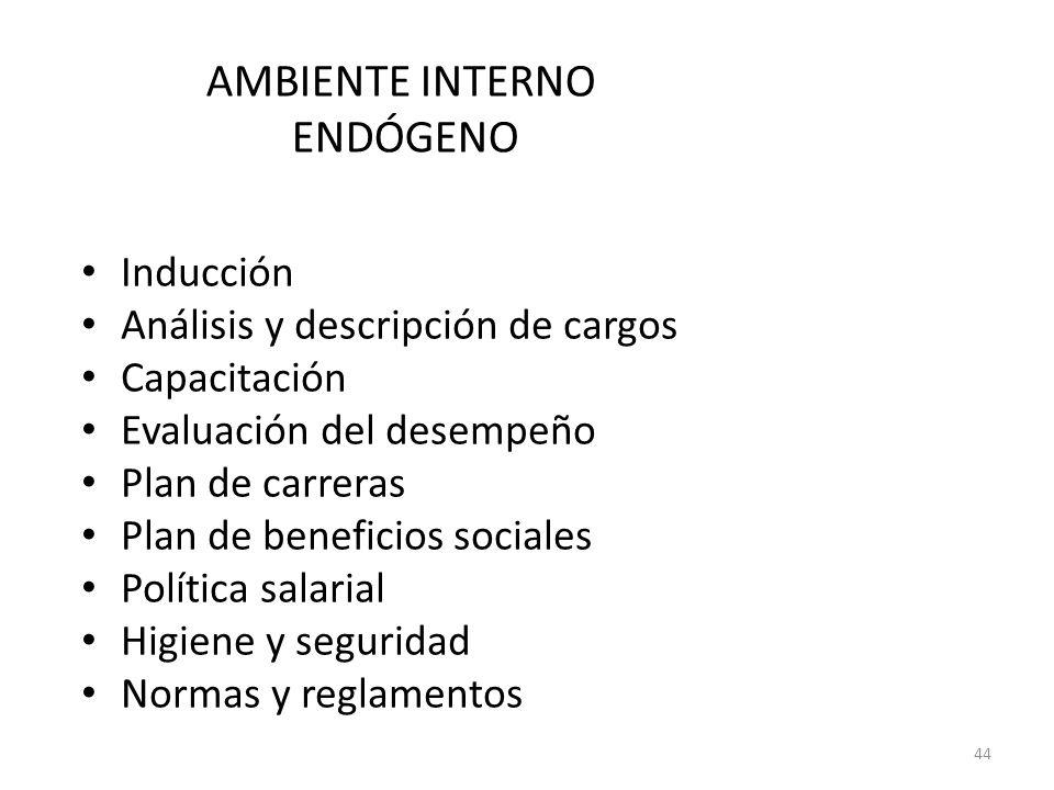 AMBIENTE INTERNO ENDÓGENO Inducción Análisis y descripción de cargos