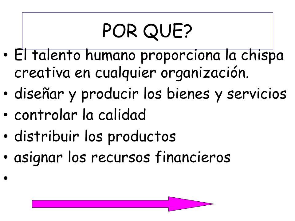 POR QUE El talento humano proporciona la chispa creativa en cualquier organización. diseñar y producir los bienes y servicios.