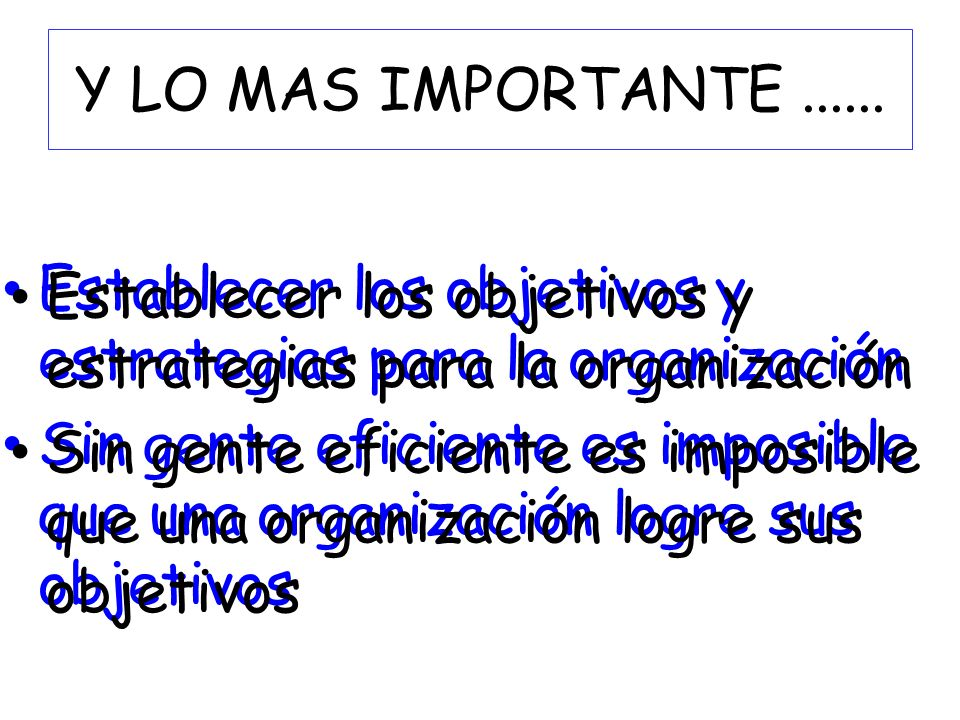 Y LO MAS IMPORTANTE ...... Establecer los objetivos y estrategias para la organización.