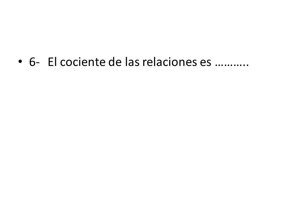 6- El cociente de las relaciones es ………..