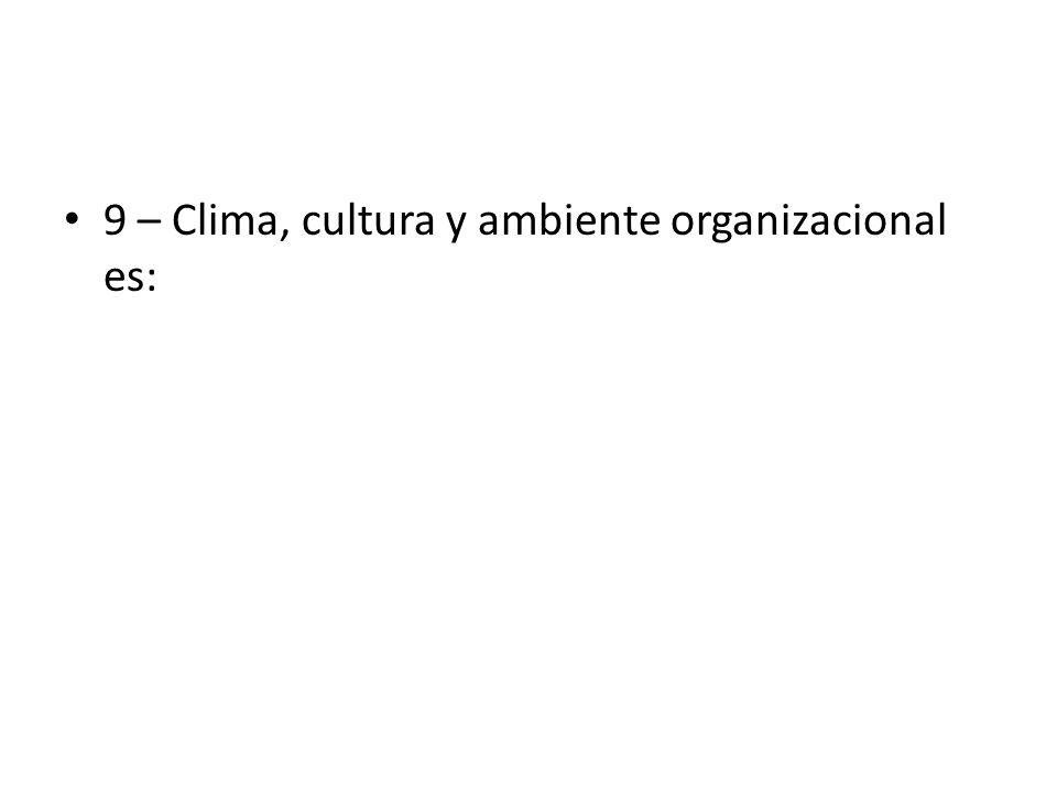 9 – Clima, cultura y ambiente organizacional es:
