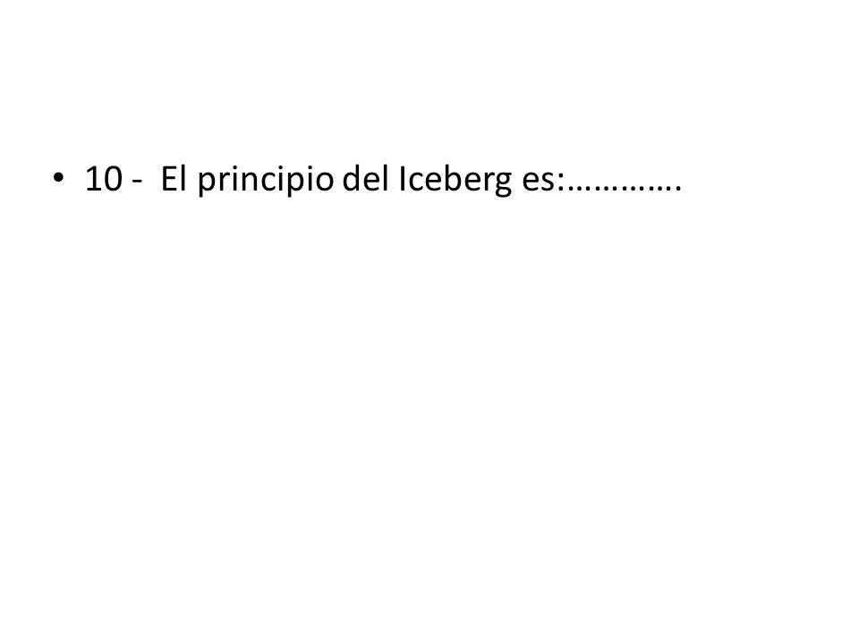 10 - El principio del Iceberg es:………….