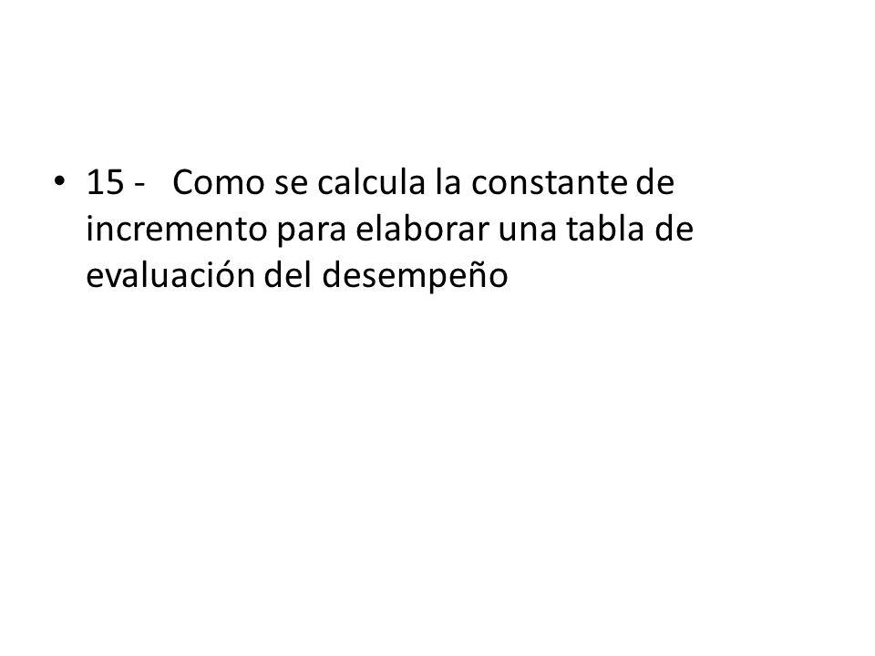 15 - Como se calcula la constante de incremento para elaborar una tabla de evaluación del desempeño