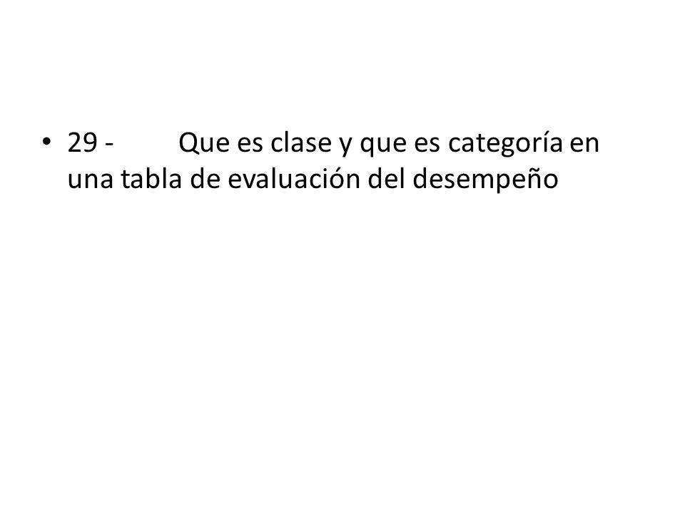 29 - Que es clase y que es categoría en una tabla de evaluación del desempeño