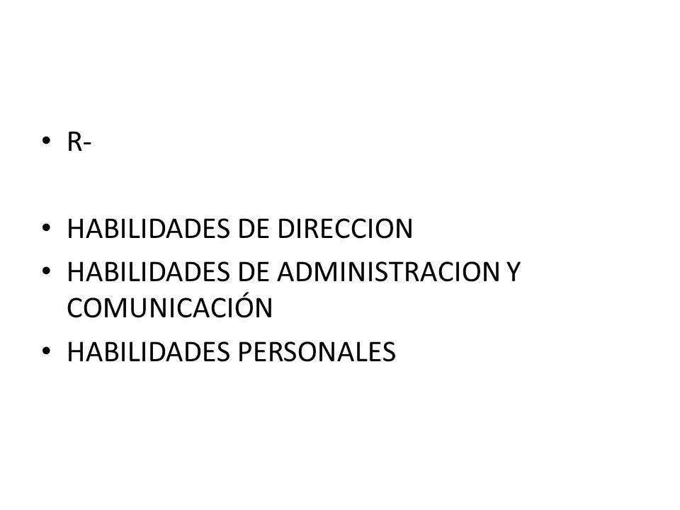R- HABILIDADES DE DIRECCION HABILIDADES DE ADMINISTRACION Y COMUNICACIÓN HABILIDADES PERSONALES