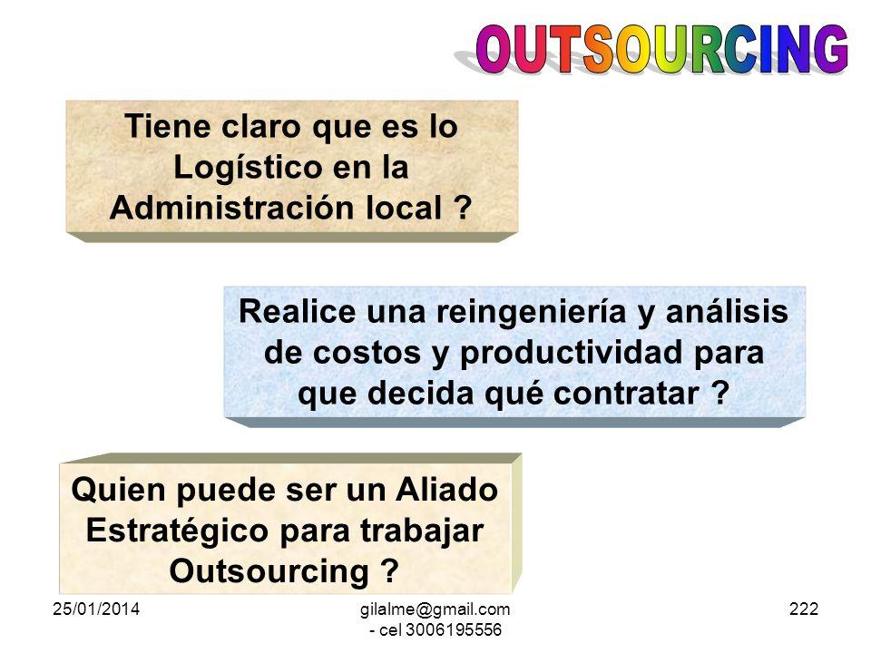 OUTSOURCING Tiene claro que es lo Logístico en la Administración local