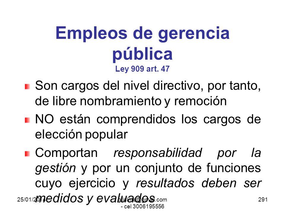 Empleos de gerencia pública Ley 909 art. 47