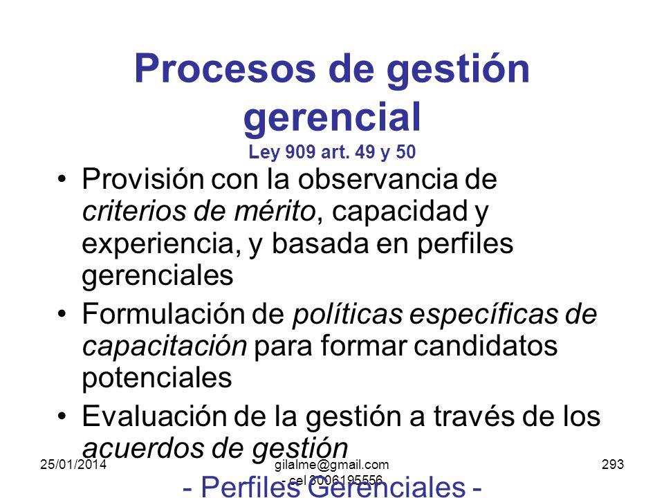 Procesos de gestión gerencial Ley 909 art. 49 y 50