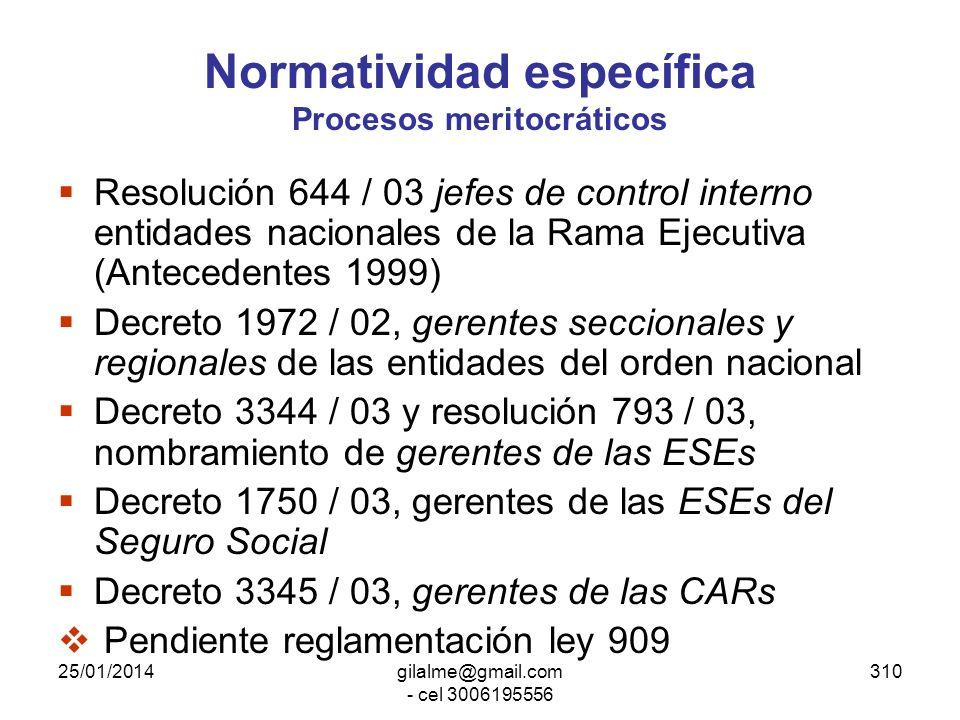 Normatividad específica Procesos meritocráticos