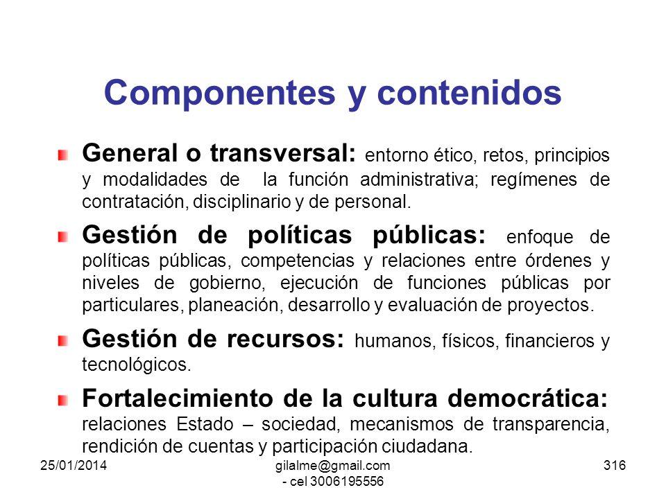 Componentes y contenidos