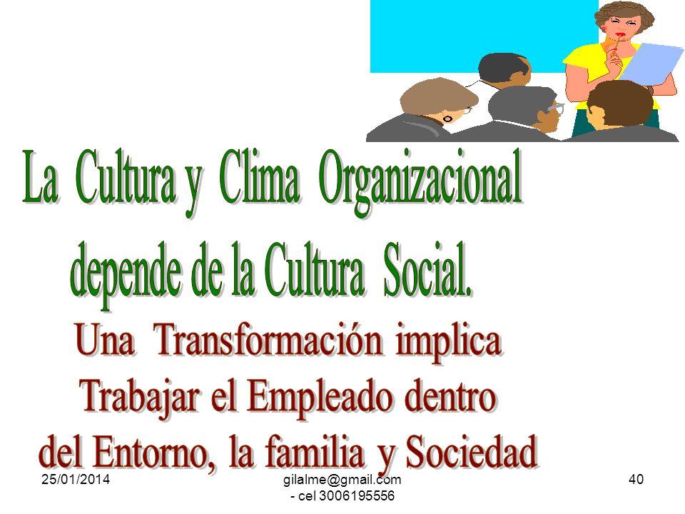 La Cultura y Clima Organizacional depende de la Cultura Social.