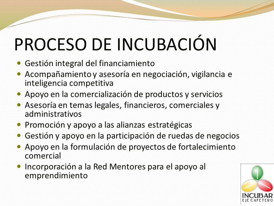 PROCESO DE INCUBACIÓN Gestión integral del financiamiento