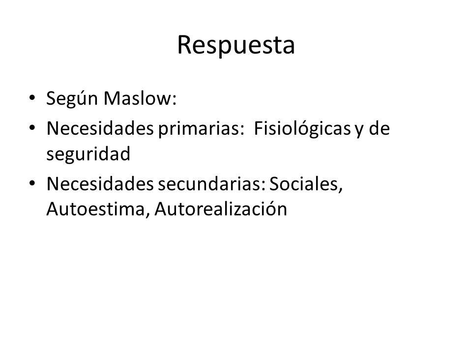 Respuesta Según Maslow: