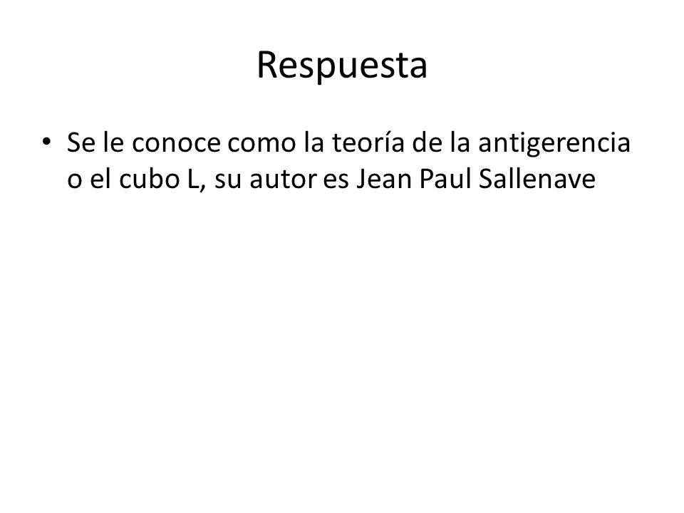 Respuesta Se le conoce como la teoría de la antigerencia o el cubo L, su autor es Jean Paul Sallenave.