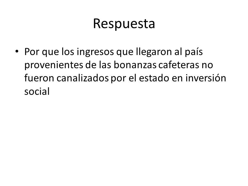 Respuesta Por que los ingresos que llegaron al país provenientes de las bonanzas cafeteras no fueron canalizados por el estado en inversión social.