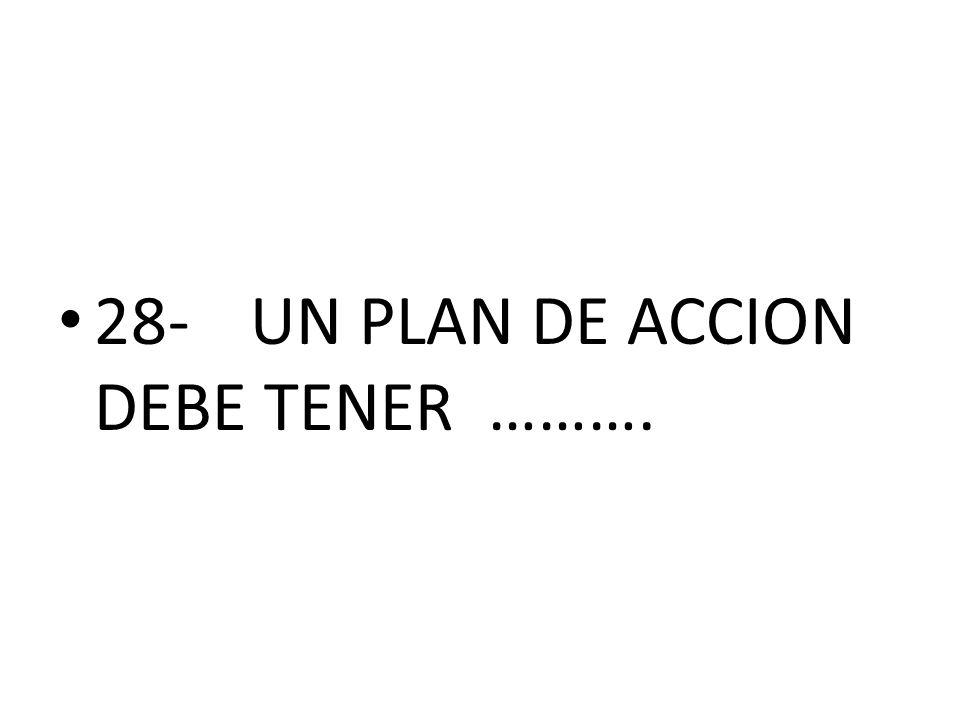 28- UN PLAN DE ACCION DEBE TENER ……….