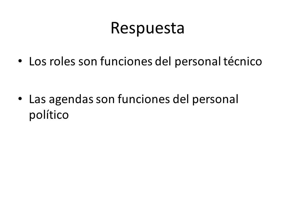 Respuesta Los roles son funciones del personal técnico