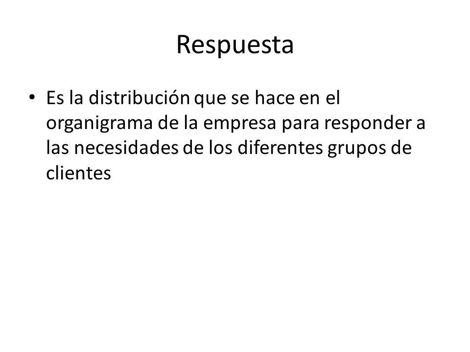Respuesta Es la distribución que se hace en el organigrama de la empresa para responder a las necesidades de los diferentes grupos de clientes.