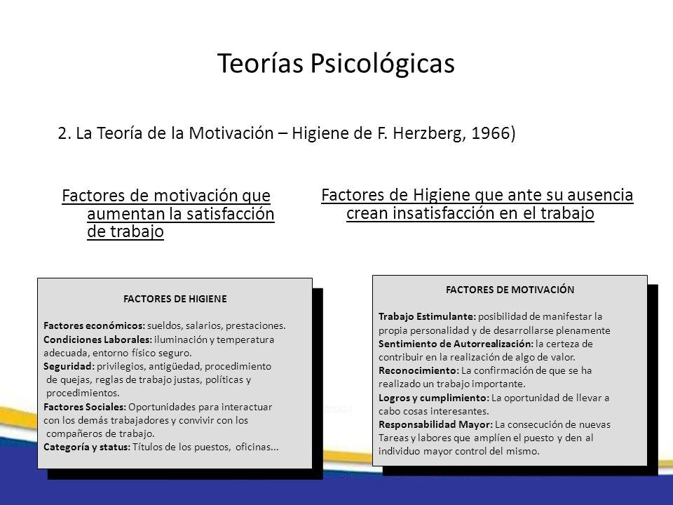 Teorías Psicológicas 2. La Teoría de la Motivación – Higiene de F. Herzberg, 1966) Factores de motivación que aumentan la satisfacción de trabajo.