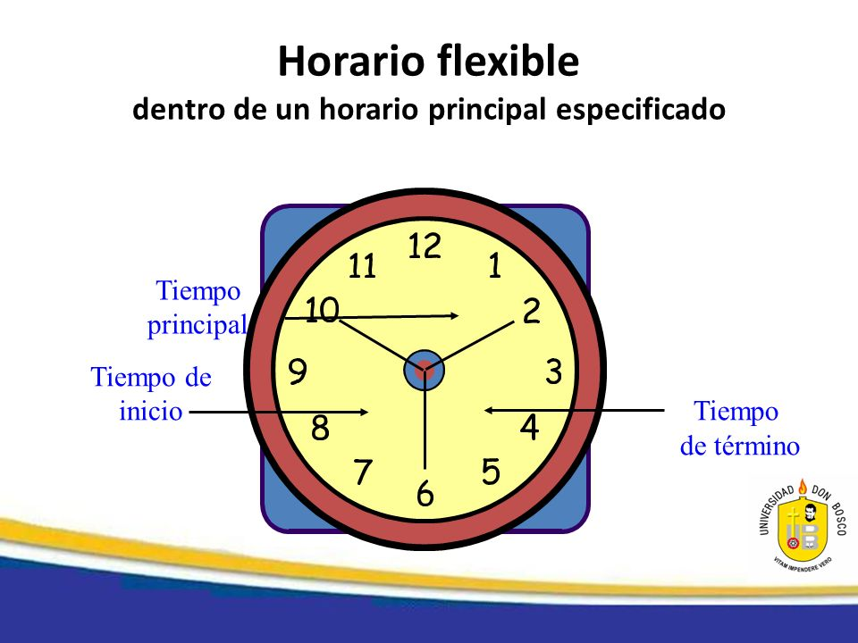 Horario flexible dentro de un horario principal especificado