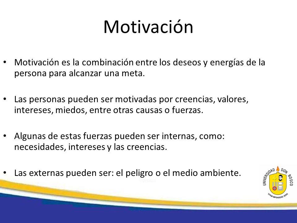 MotivaciónMotivación es la combinación entre los deseos y energías de la persona para alcanzar una meta.