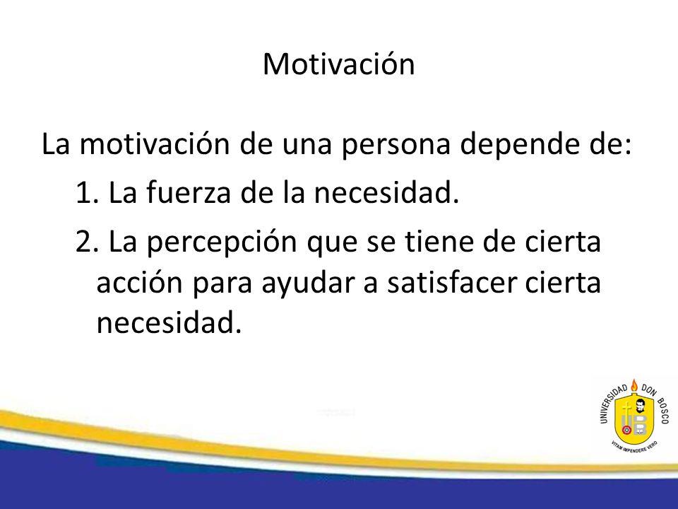 Motivación La motivación de una persona depende de: 1. La fuerza de la necesidad.