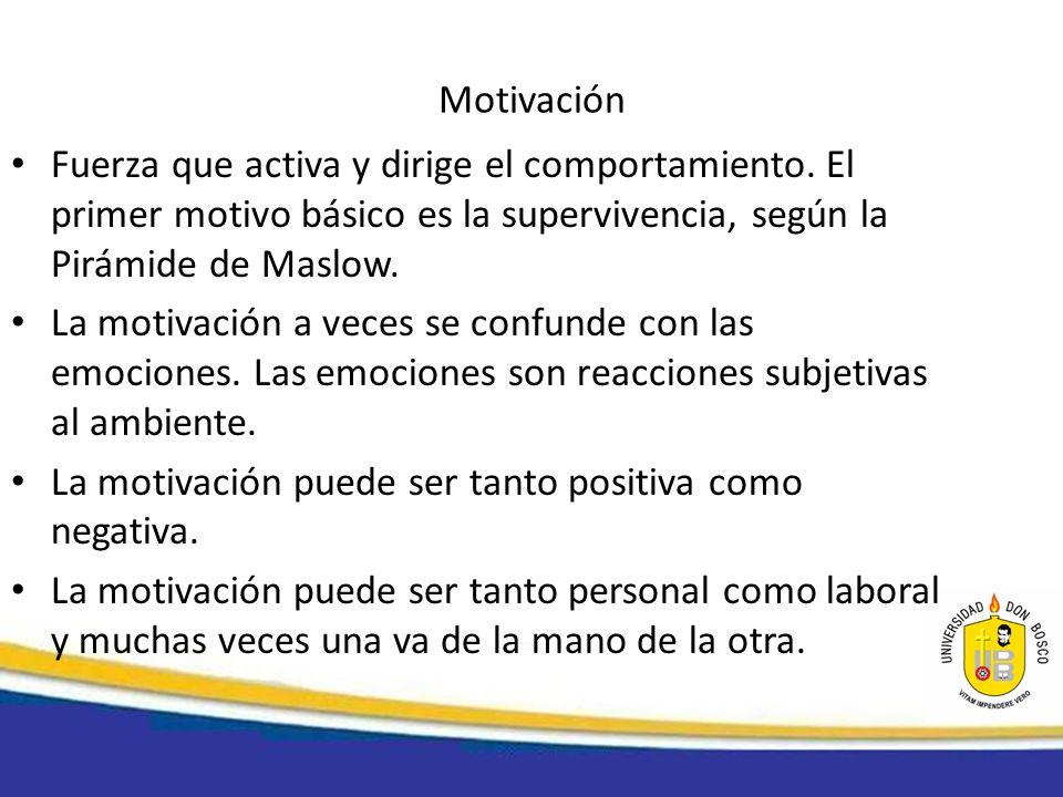 MotivaciónFuerza que activa y dirige el comportamiento. El primer motivo básico es la supervivencia, según la Pirámide de Maslow.