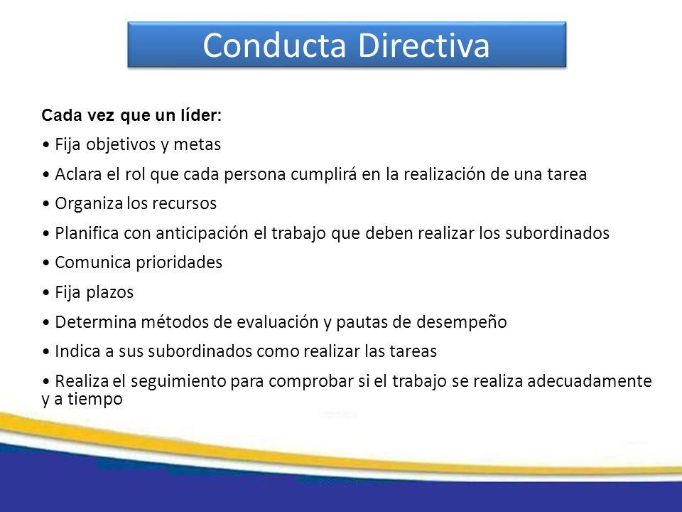 Conducta Directiva Fija objetivos y metas