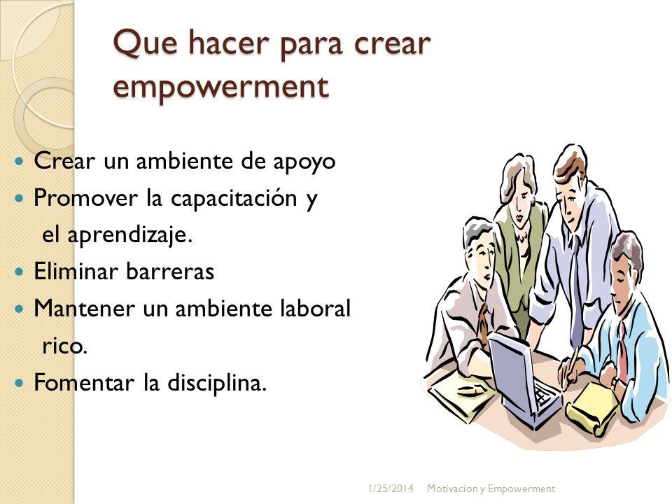 Que hacer para crear empowerment