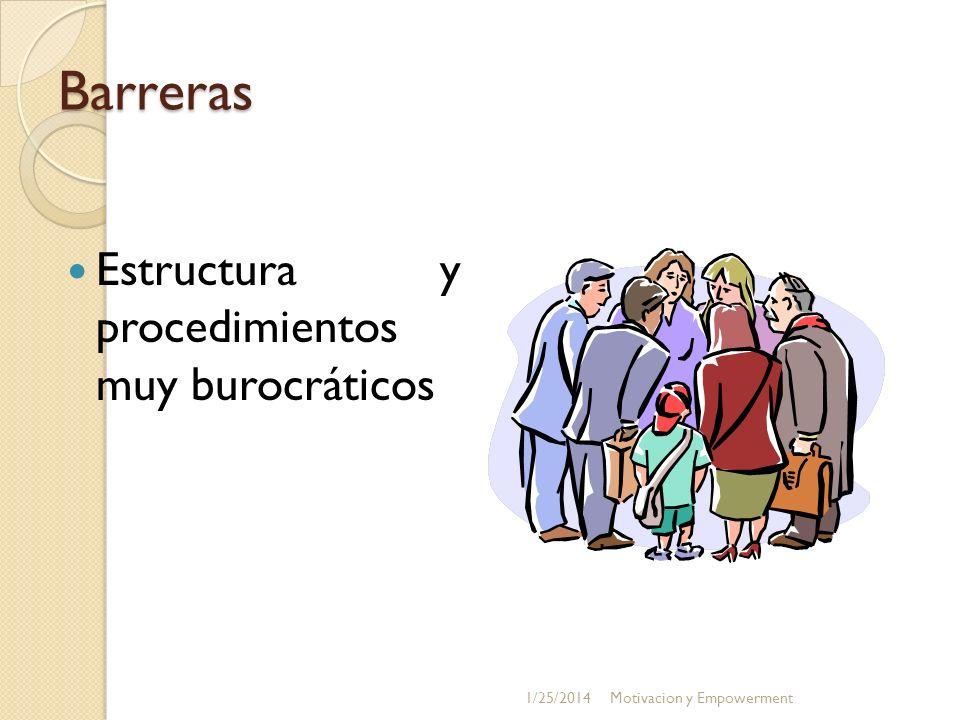 Barreras Estructura y procedimientos muy burocráticos 3/24/2017