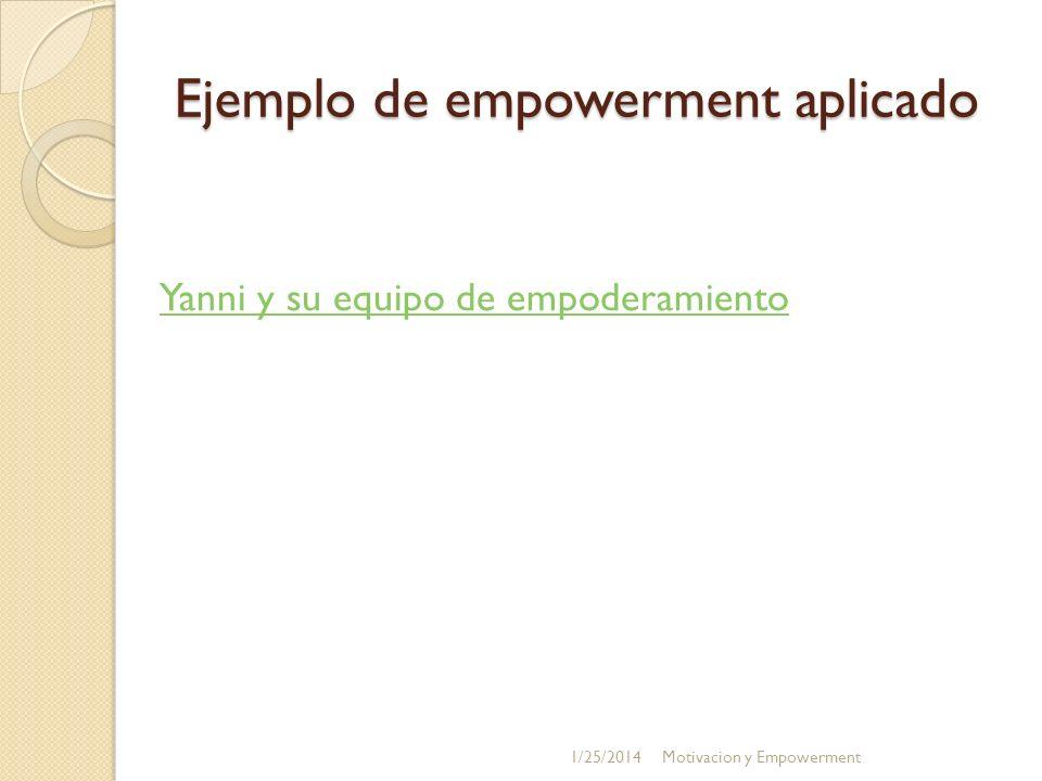 Ejemplo de empowerment aplicado