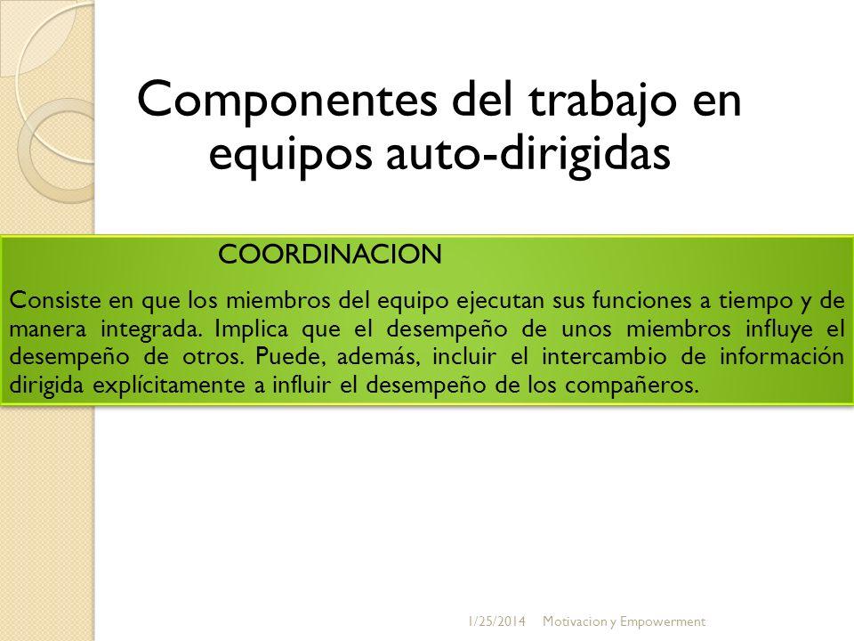 Componentes del trabajo en equipos auto-dirigidas