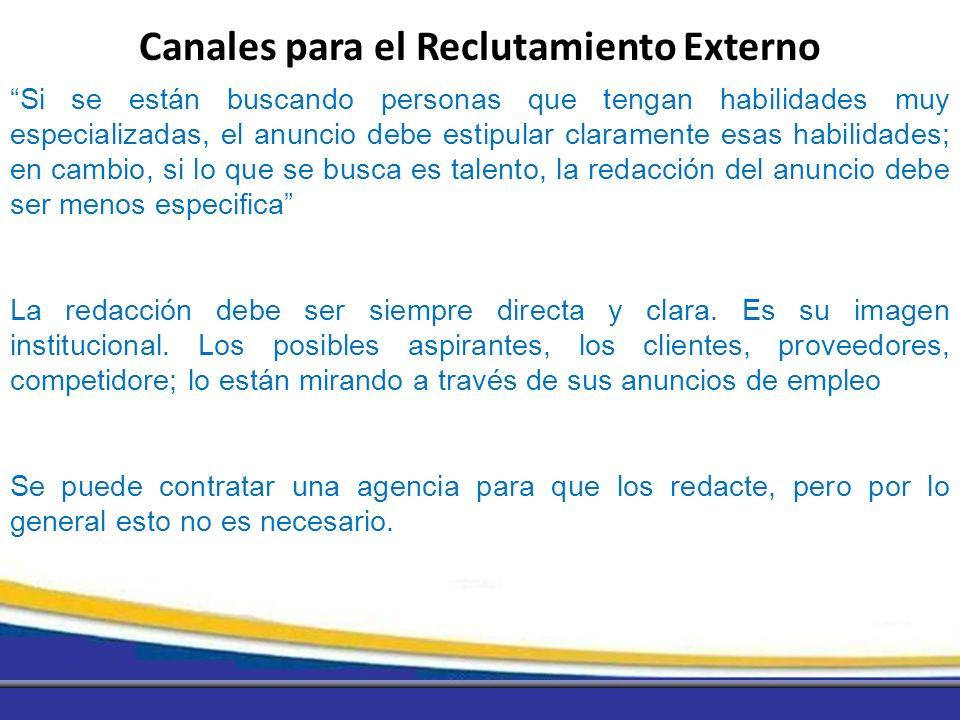 Canales para el Reclutamiento Externo