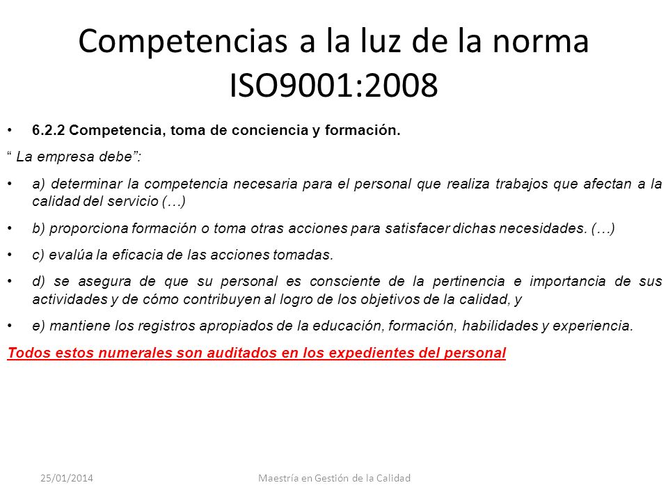 Competencias a la luz de la norma ISO9001:2008