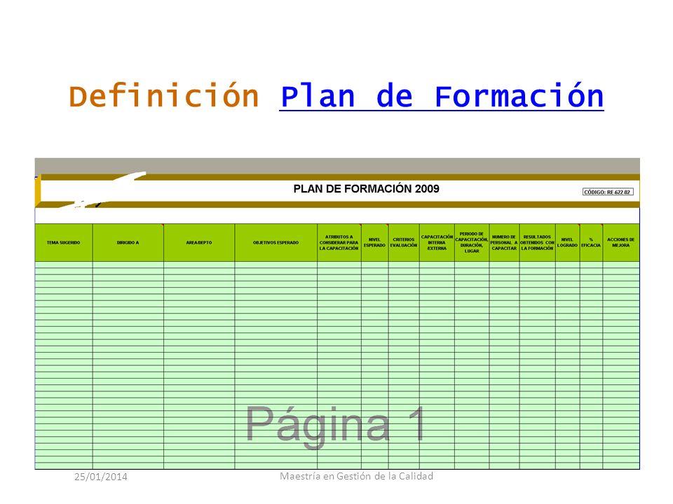 Definición Plan de Formación