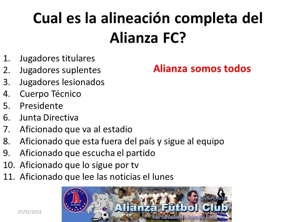 Cual es la alineación completa del Alianza FC