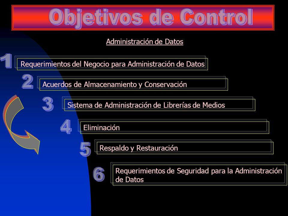 Objetivos de Control 1 2 3 4 5 6 Administración de Datos